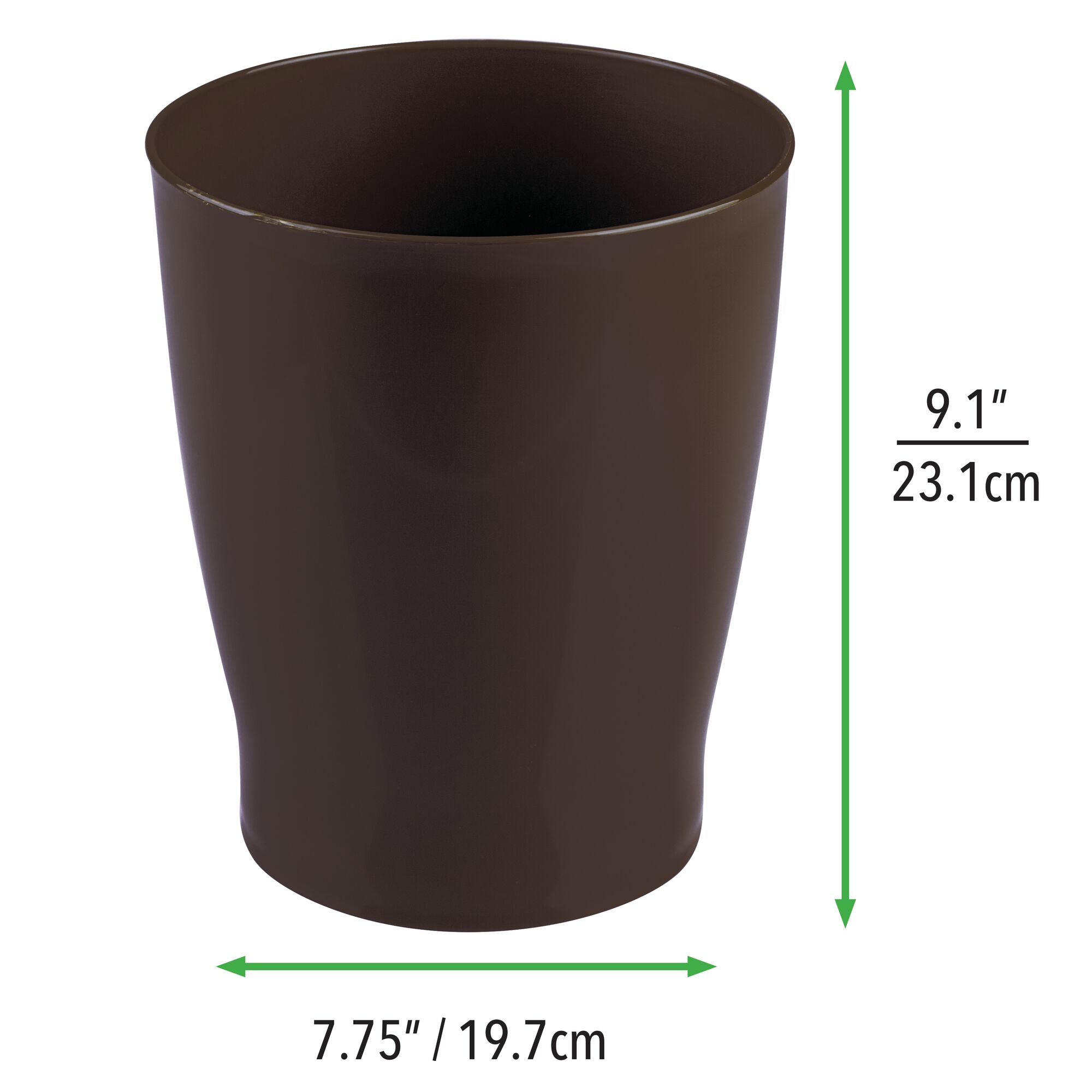 mDesign Slim Plastic Small Round Trash Can Wastebasket Garbage Bin