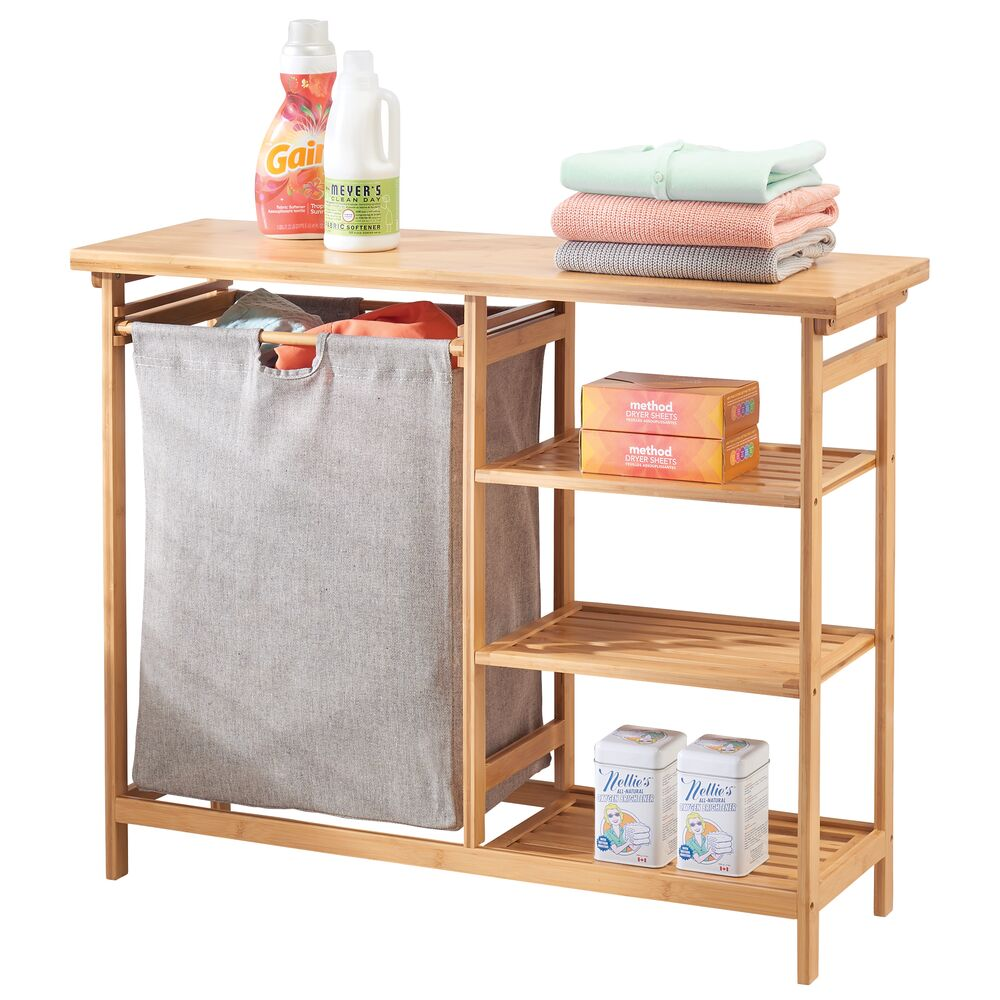 mDesign Bamboo Wood Laundry Furniture Storage & Hamper - Nat