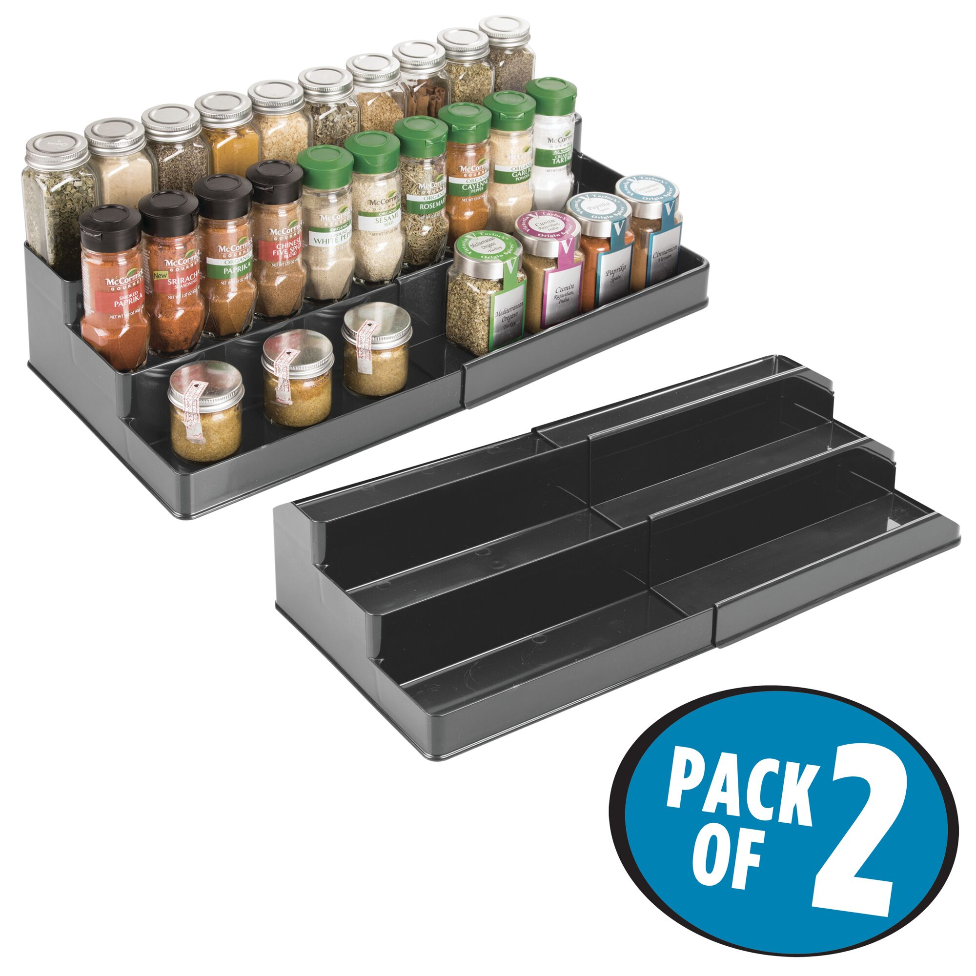 mDesign-Expandable-Kitchen-Cabinet-Pantry-Organizer-Spice-Rack thumbnail 30