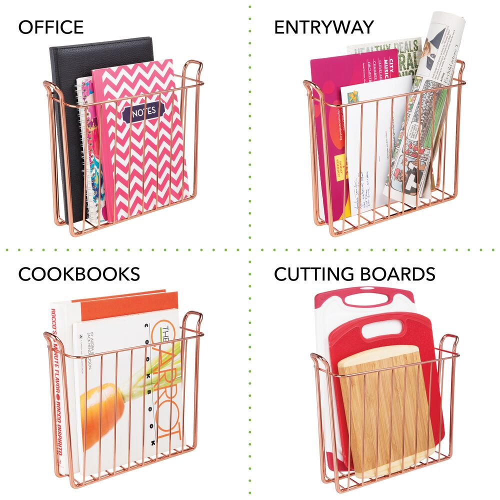 mDesign-Metal-Wall-Mount-Magazine-Book-Holder-Compact-Rack thumbnail 33
