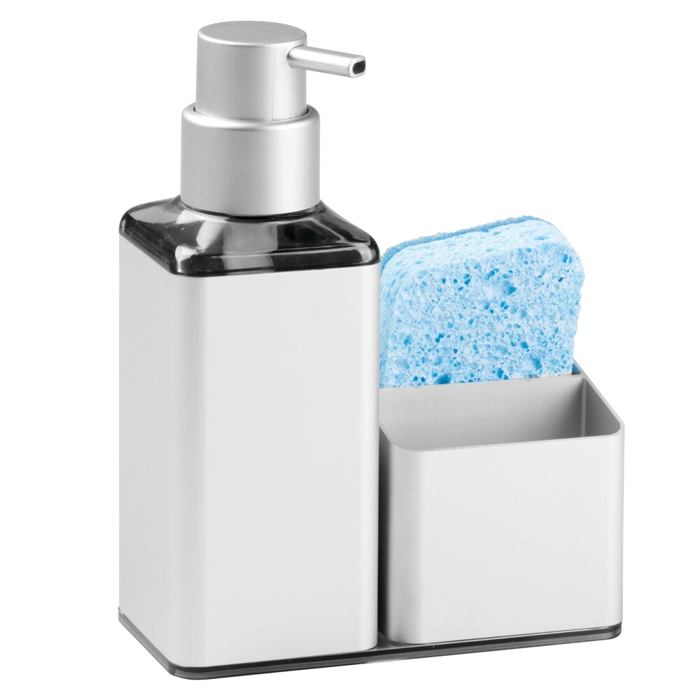 Details about mDesign Rust Free Aluminum Kitchen Sink Countertop Soap  Dispenser/Caddy - Silver
