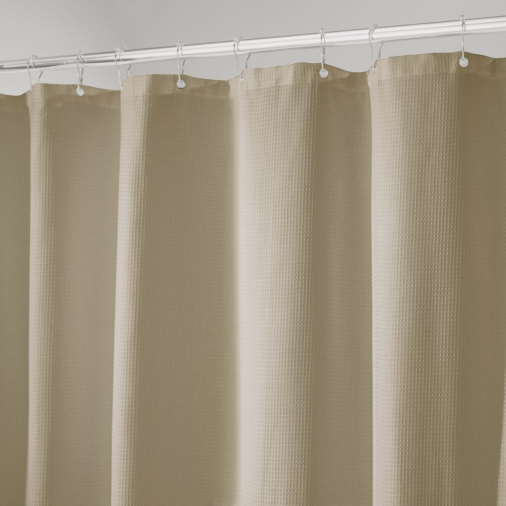 Mdesign Extra Long Waffle Weave Fabric Shower Curtain 72