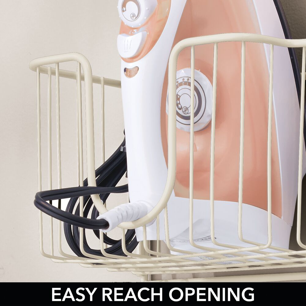 mDesign-Wall-Mount-Ironing-Board-Holder-Large-Storage-Basket thumbnail 43