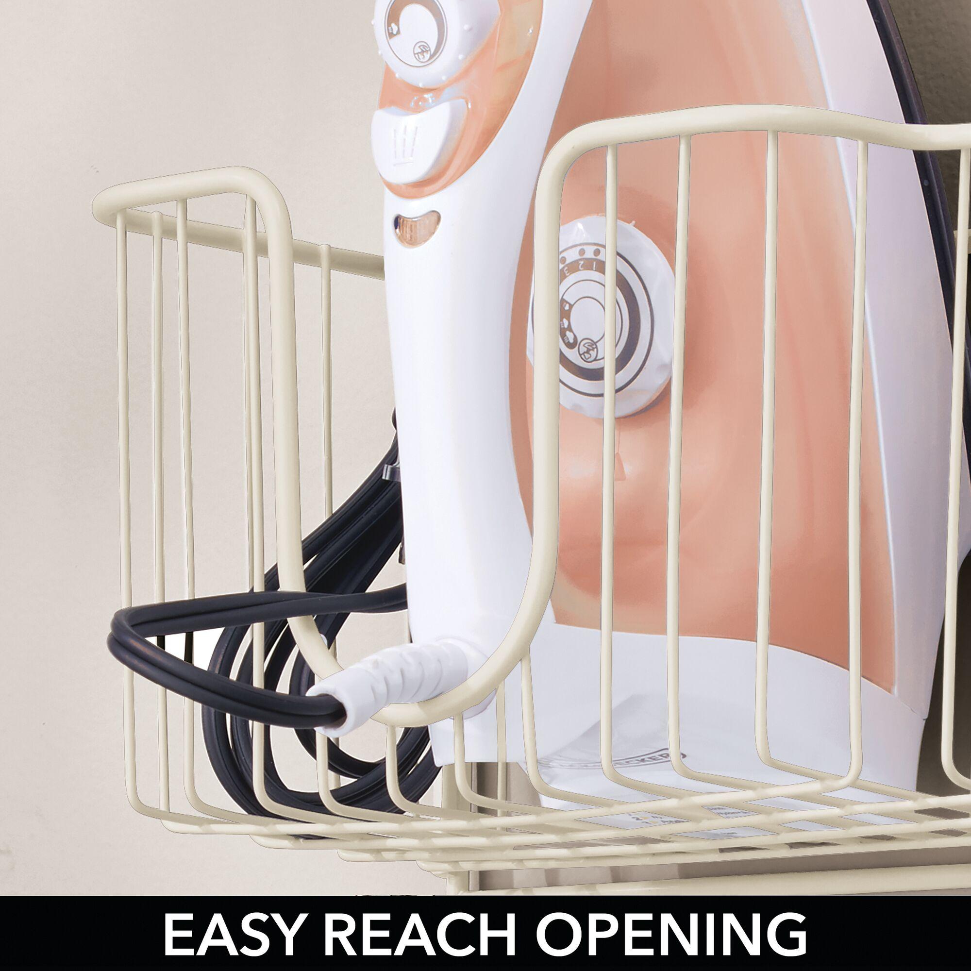 mDesign-Wall-Mount-Ironing-Board-Holder-Large-Storage-Basket thumbnail 49