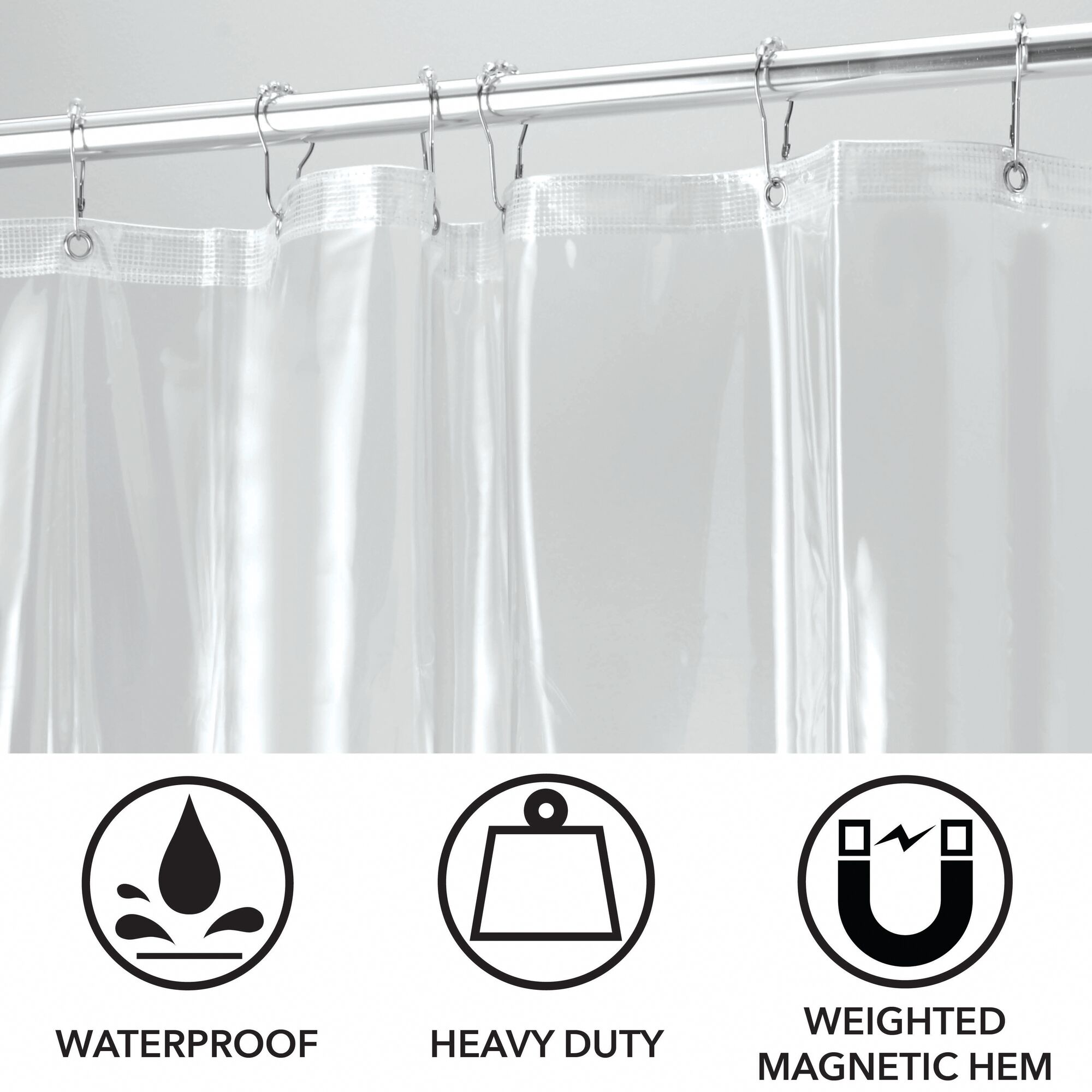 mDesign-Premium-Waterproof-Vinyl-Shower-Curtain-Liner-72-034-x-72-034 miniatuur 21