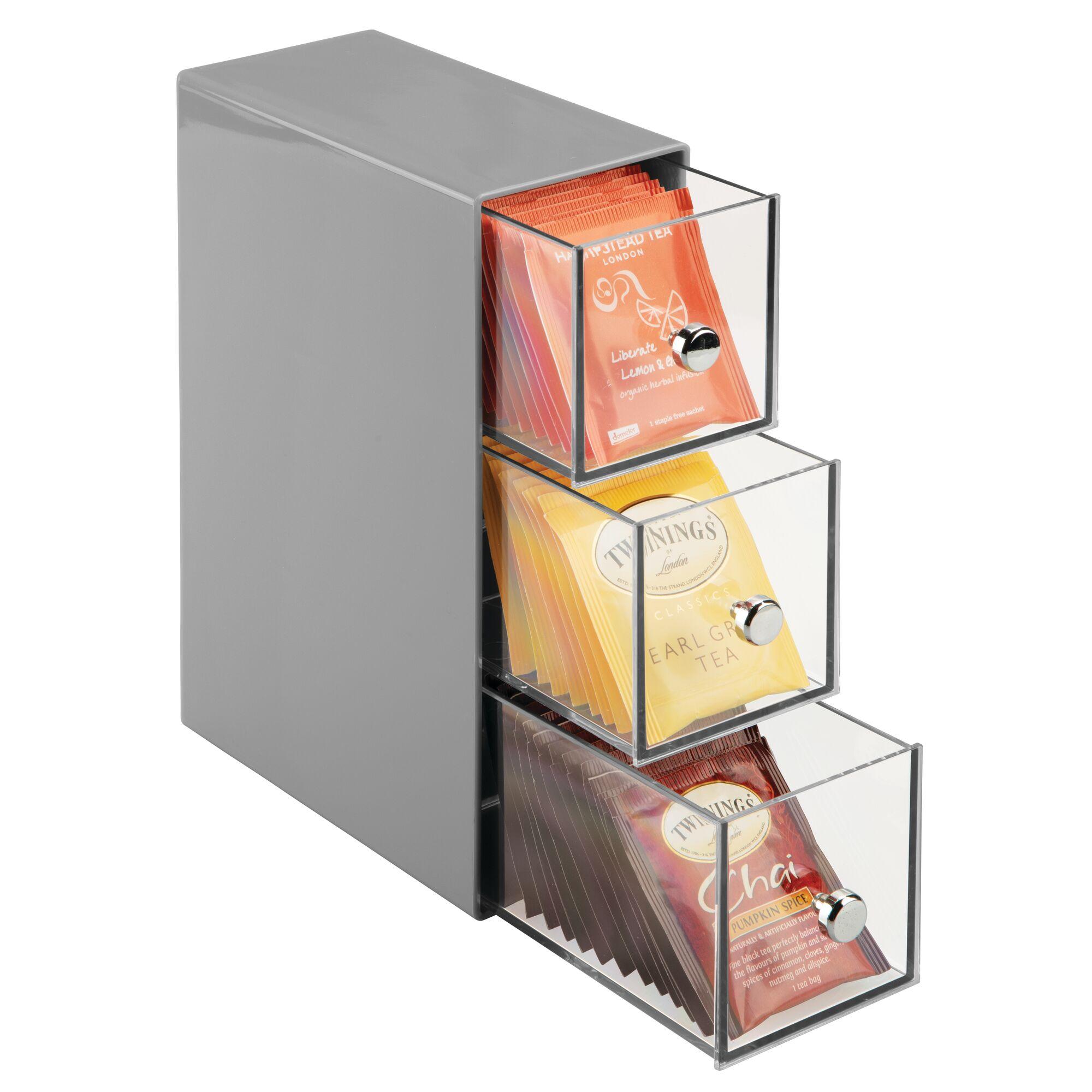Details about mDesign Plastic Kitchen Storage Tea Organizer, Flips, 3  Drawers