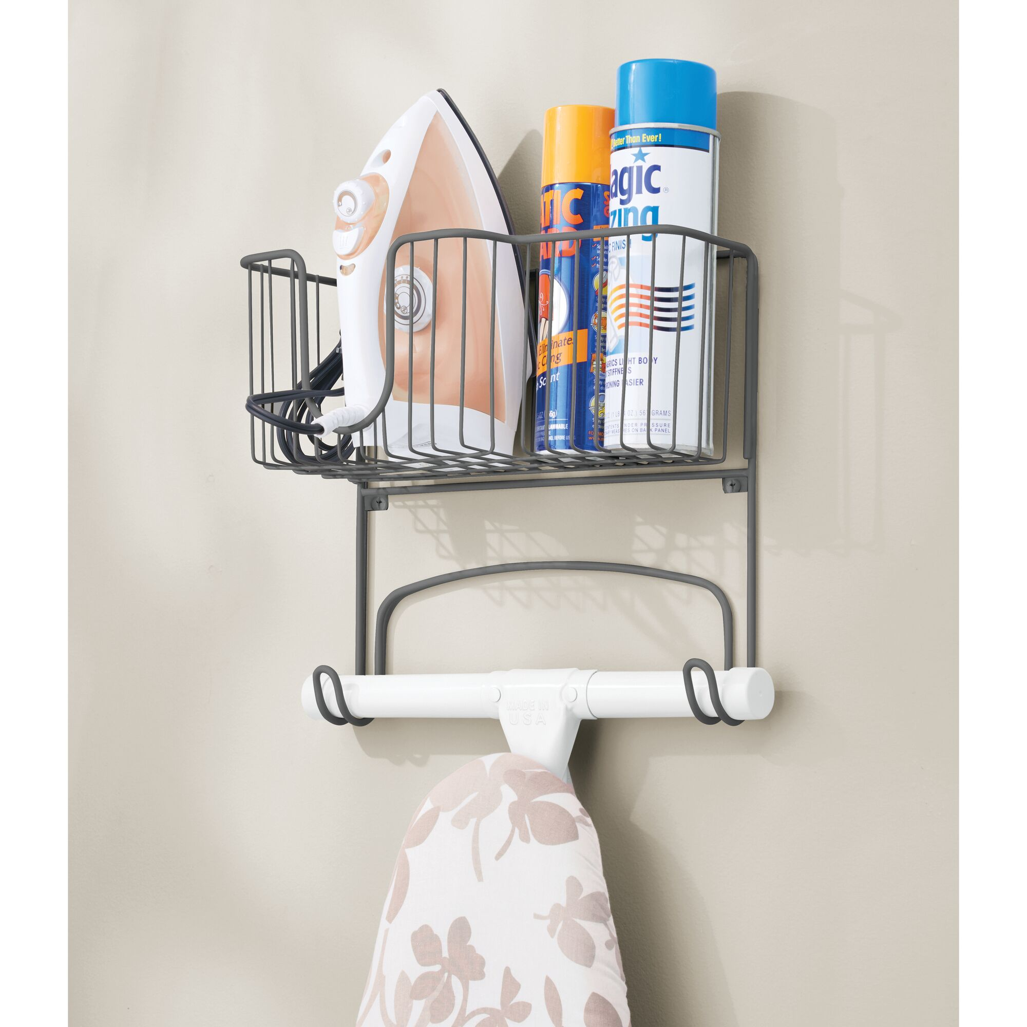 mDesign-Wall-Mount-Ironing-Board-Holder-Large-Storage-Basket thumbnail 31