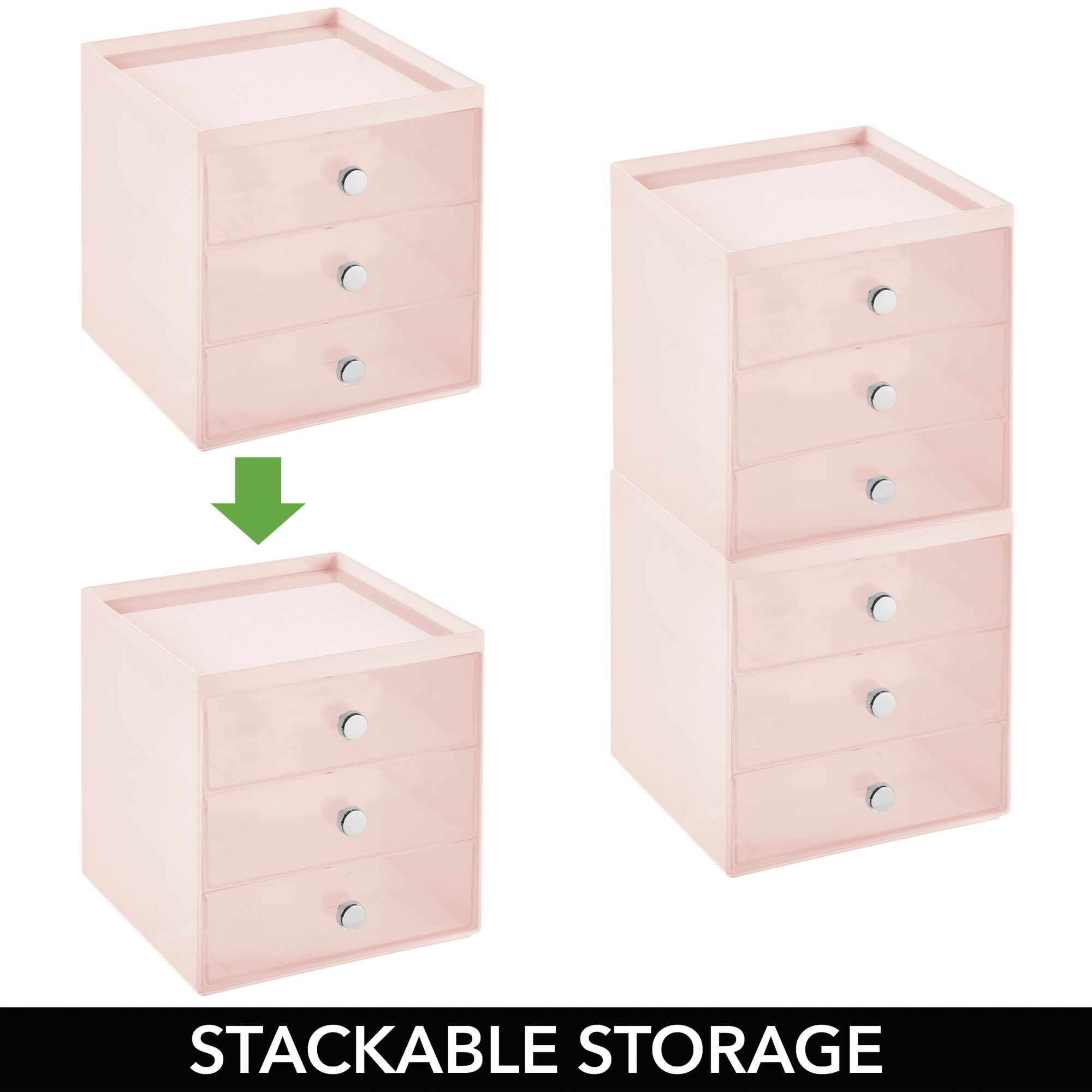 mDesign-Plastic-Makeup-Storage-Organizer-Cube-3-Drawers thumbnail 56
