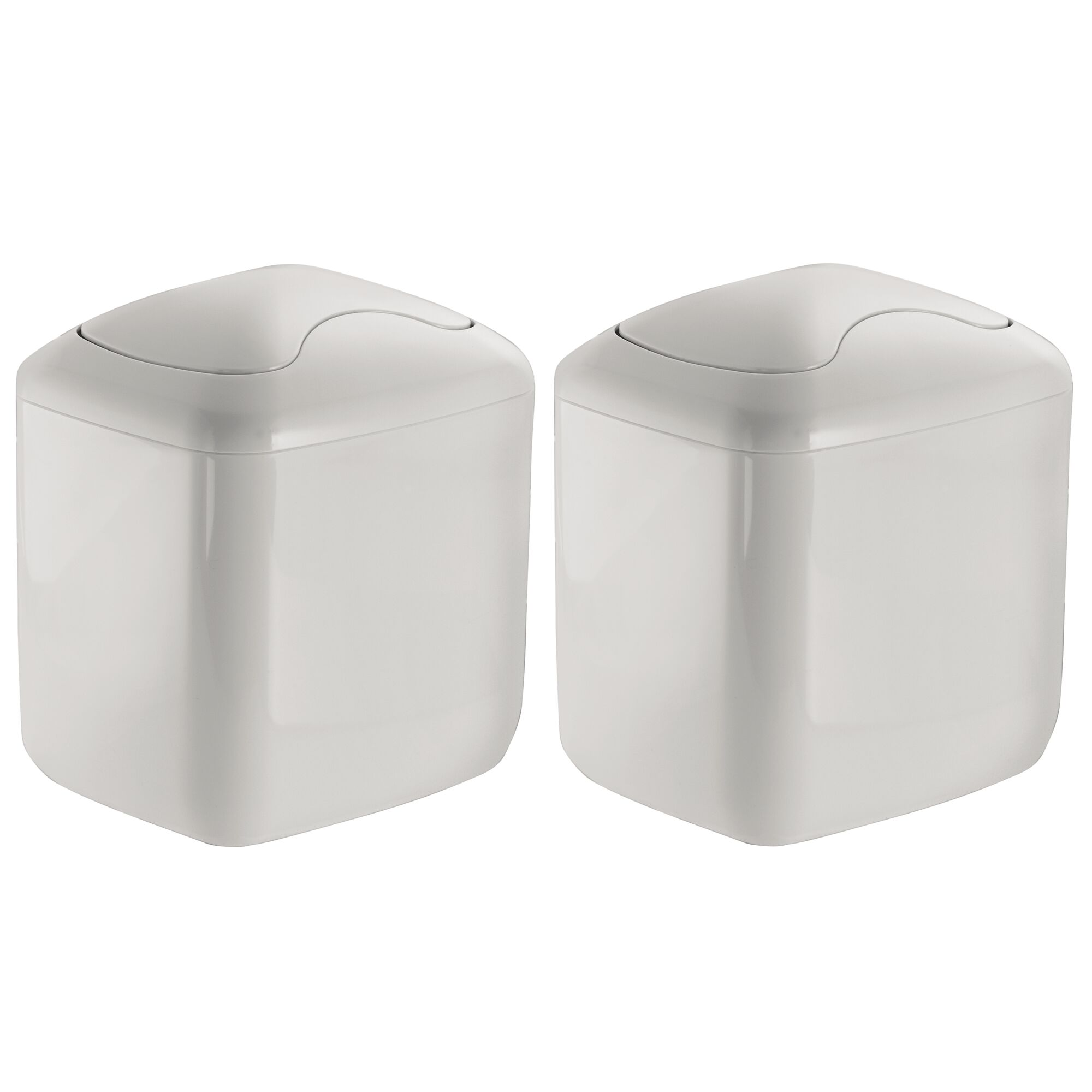 Mdesign Square Mini Trash Can With Swing Lid For Bath