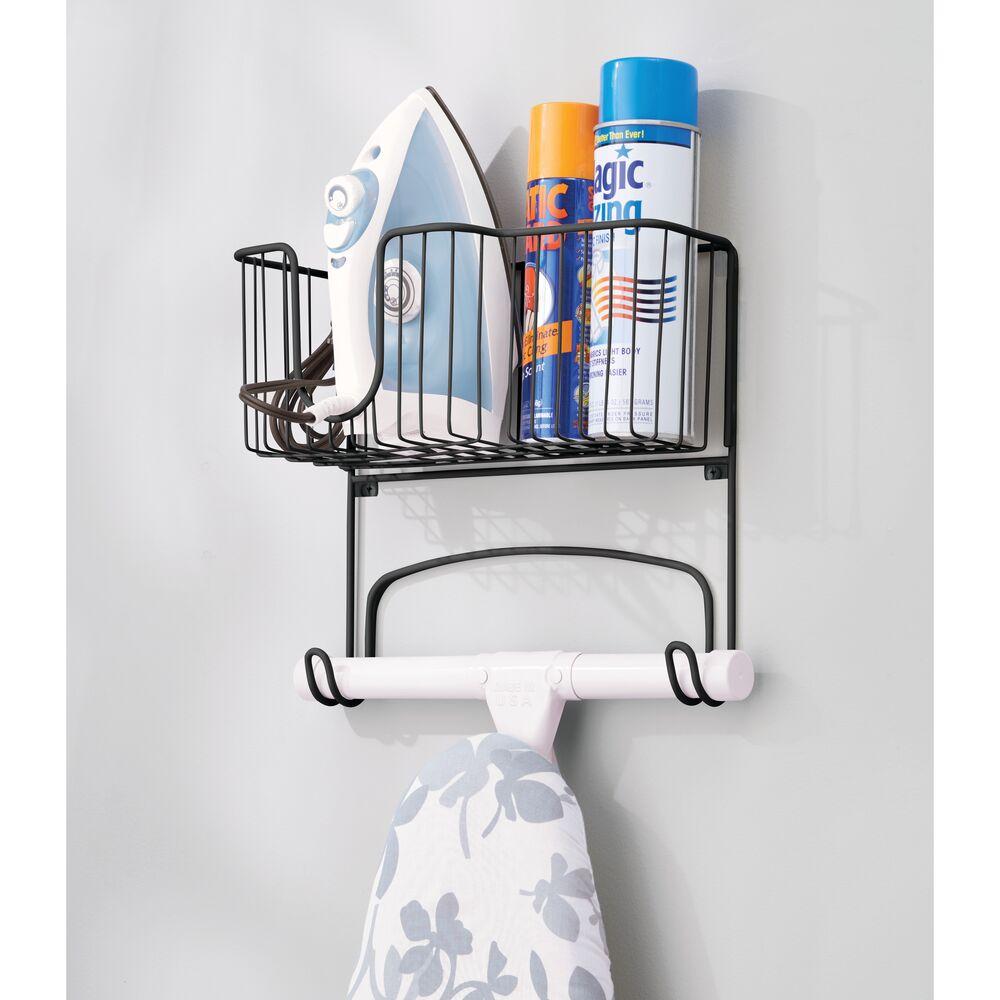 mDesign-Wall-Mount-Ironing-Board-Holder-Large-Storage-Basket thumbnail 34