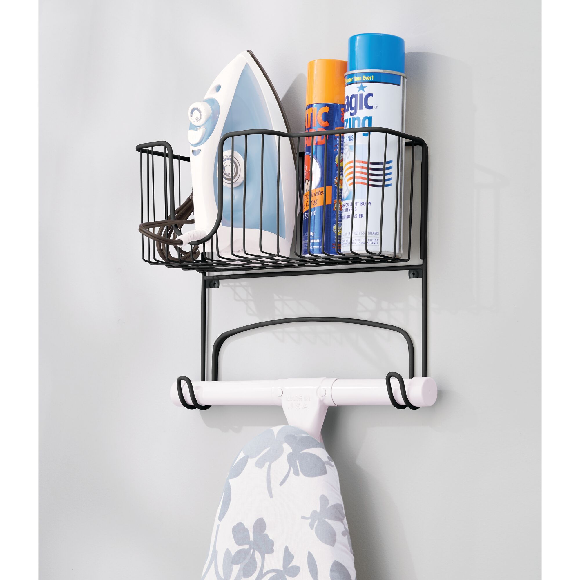 mDesign-Wall-Mount-Ironing-Board-Holder-Large-Storage-Basket thumbnail 39