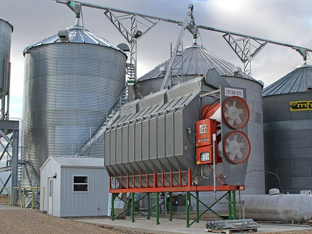 Grain dryer and bins