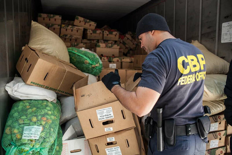 CBP Officer inspects a container