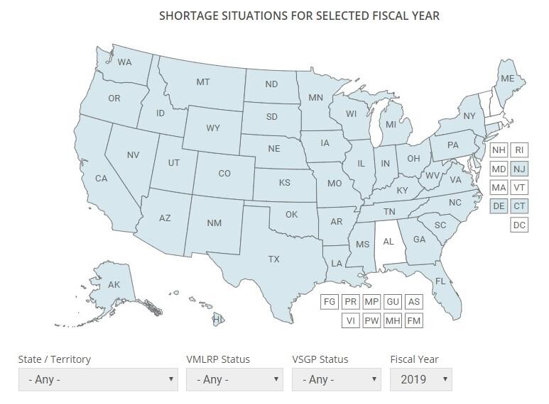 Shortage map