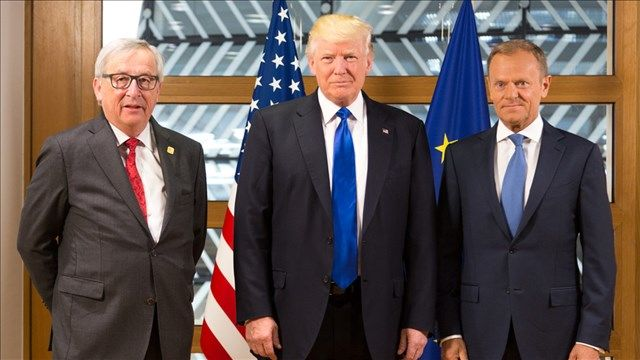 "Pres Trump and European Union leaders announced Wednesday they have agreed to work toward ""zero tariffs"" and ""zero subsidies"" on non-automobile goods, including buying more US soybeans."