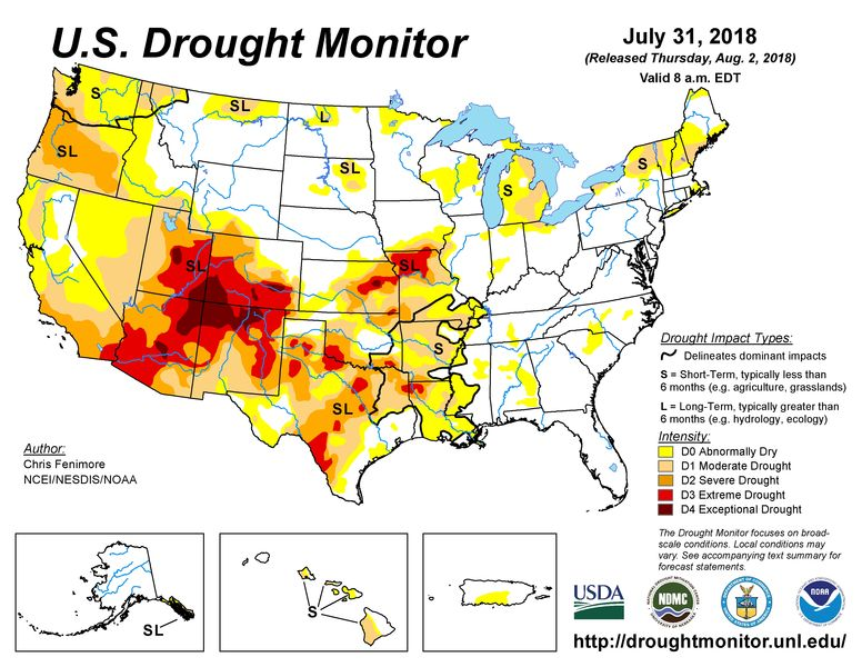 Tuesday, USDA's Farm Service Agency (FSA) announced counties in Iowa, Kansas, Missouri and Oklahoma will be available for FSA emergency loans due to losses from drought
