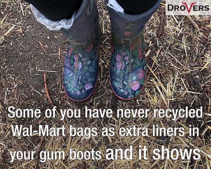 gum rubber boots plastic bag liners