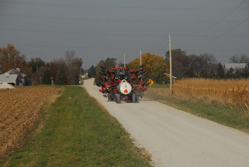 Farm equipment on rural road 11