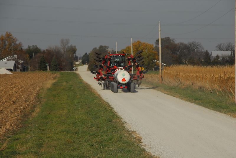 Farm equipment on rural road 10