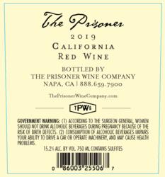 2019 The Prisoner Red Blend 750ml Back Label - California